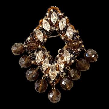 1960s Italian ORNELLA Bronze and Clear Crystal Beadwork Diamond Shaped Brooch Pin