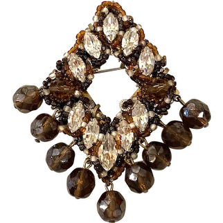 1960s Italian ORNELLA Bronze and Clear Crystal Beadwork Diamond Shaped Brooch Pin