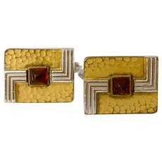 1940s Hickcox Art Deco Mixed Metal Cufflinks