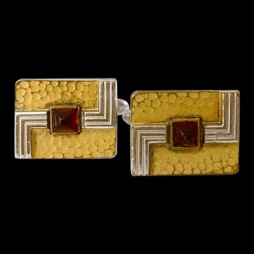 1940s Hickcox Art Deco Mixed Metal Cufflinks
