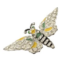 Early 1940s White Metal  Enamel Pave Rhinestone Double Trembler Butterfly Brooch Pin