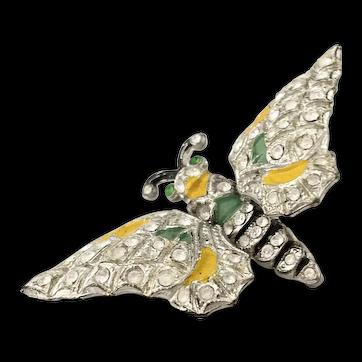 Early 1940s White Metal  Enamel Pave Rhinestone Double Trembler Butterfly Brooch Pin