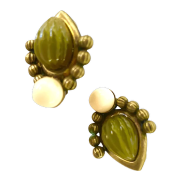 Lawrence VRBA Antiqued Brass Green Resin and Cream Clip Earrings