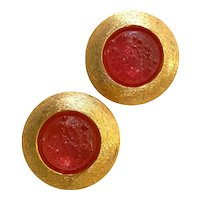 Shimmering BERGERE Pink Poured Glass Circular Clip Earrings