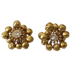 1960s William DeLillo Articulated Gold Balls Diamante Clip Earrings