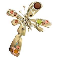 1990s Christian Lacroix Silvertone Brutalist Stylized Butterfly  Brooch Pin