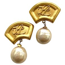 1980s Karl Lagerfeld Huge Gilt Statement Clip Earrings  Massive  Pearl Drop