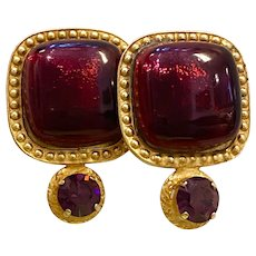 1990s Phillipe Ferrandis French Statement Enameled Cabochon Clip Earrings