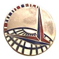 1939 New York Worlds Fair Sterling Silver Deco Enamel Trylon Perisphere Brooch Pin