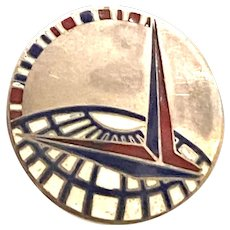 1939 New York Worlds Fair Sterling Silver Deco Enamel Trylon Perisphere Brooch Pin