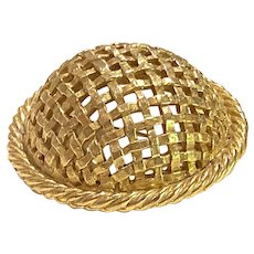 1950s DeNicola Gold Tone Basket Weave High Domed Brooch Pin