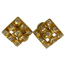 1980s Square Gridwork Brushed Gold Tone Clip Earrings Rhinestones