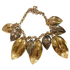 1960s NAPIER Mixed Metals Leaf Necklace Goldtone Silvertone