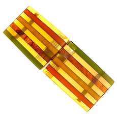 1930s Apple Juice BAKELITE Multicolored Laminated Belt Buckle