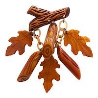1930s Resin Washed Rust Bakelite Oak Leaves and Logs Figural Pin Brooch
