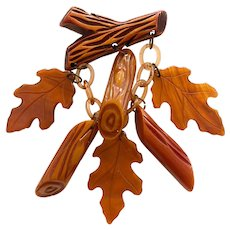 1930s Resin Washed Rust Bakelite Oak Leaves and Logs Figural Pin Brooch