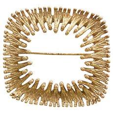 1970s Napier Brutalist Goldtone Modern Square Burst Pin Brooch