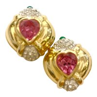 1980s Nolan Miller Goldtone Pink Heart and Pave Rhinestone Clip Earrings