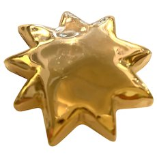1980s Gold Wrapped Star Pin Brooch