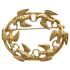 Doves of Peace Oval Goldtone Brooch Pin