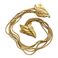 Gilt Brass Double leaves Chatelaine Brooch Pin Clips With Bugle Bead Chainwork