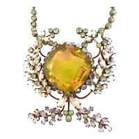 Magnificent 1950s FRENCH Massive Amber Crystal Aurora Borealis Wirework Pendant Necklace