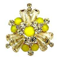 Amazing Jonquil Yellow Juliana D and E Keystone Brooch Pin