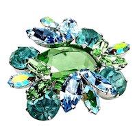 Dreamy REGENCY Aquamarine and Green Rhodium Plated Layered Brooch Pin