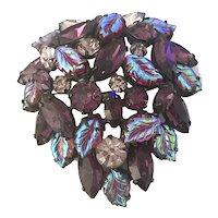 Unusual Regency Lilac Purple Molded Leaves Stones Borealis Pin Brooch