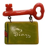 Super RARE Bakelite Figural MY Diary with Red Key and Suspended  Figural Diary Brooch Pin
