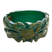 1930s Exquisitely Colored Green Turquoise Translucent Carved Bakelite Hinged Bracelet