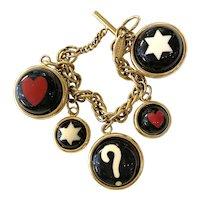 MOSCHINO 1990s Resin Brass Multicolor Charm Bracelet