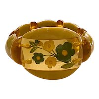 Luscious 1930s Reverse Carved and Painted Apple Juice Bakelite Floral Stretch Bracelet