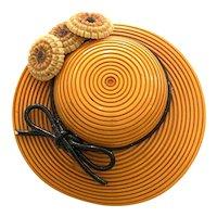 1930s Bakelite Figural HAT Pin Brooch Scored Carved Embellished