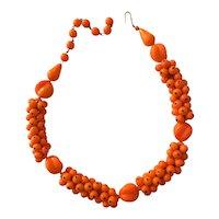 Brilliant Orange West German Glass Bead Necklace