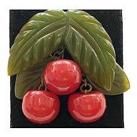 1930s UNUSUAL Figural Bakelite Cherries Leaves Brooch Pin