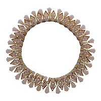 Amazing TRIFARI Faux Moonstone Important Goldtone Necklace