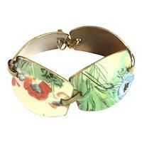 Artisan 1950s Copper Floral Enameled Link Bracelet