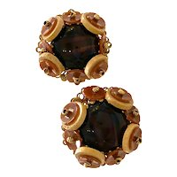 Miriam Haskell Wood Glass and Resin Clip Back Earrings