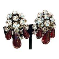 SCHREINER White Rhinestone Triple Red Glass Teardrop Dangling Earrings Clip Back