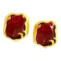 1980s French RED Poured Glass Organic Gold Tone Clip Earrings