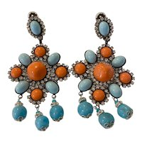 Lawrence VRBA Mammoth Faux Turquoise and Coral Diamante Statement Drop Clip On Earrings