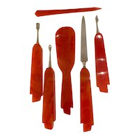 1920s Art Deco Marbled Rust  Celluloid Manicure Vanity Set 6-Pieces
