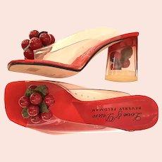 Clear Acrylic Vinyl Bakelite Look Cherries Cha-Cha STACK High Heel Shoes Size 5B