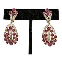 Fabulous 1950s TRIFARI Diminutive Faux Raspberry Ruby Diamante Drop Clip Earrings