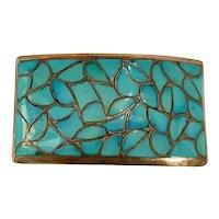 Eva & Linberg Billah Navajo Fish Scale Turquoise and Silver Belt Buckle