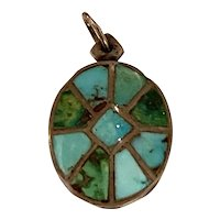 Zuni Channel Inlay Turquoise Sterling Silver Pendant