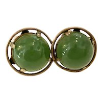 Green Sardonyx and Sterling Domed Circular Small Screwback Earrings