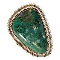 1960s Israeli Eilat Stone Brass Filigreed Brooch Pin