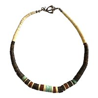 Native American Thin Assorted Slivers of Turquoise Bone Ebony and Wood Necklace